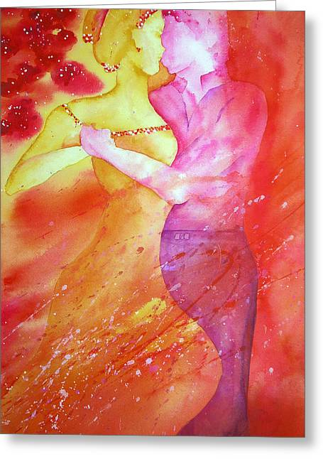 Wet Into Wet Watercolor Greeting Cards - Merman Dancing Greeting Card by Chris Blevins