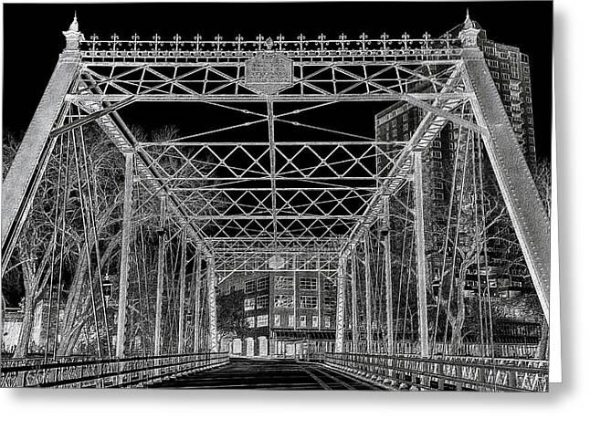 Crossed Lines Greeting Cards - Merriam Street Bridge Greeting Card by Bill Tiepelman