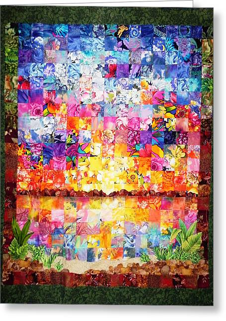 Fabric Quilt Tapestries - Textiles Greeting Cards - Merritt Island Quilt Greeting Card by Francesa Miller