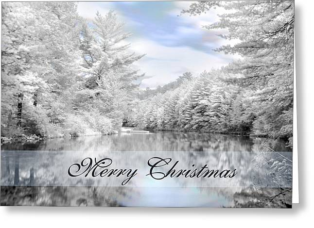 Wintry Photographs Greeting Cards - Merry Christmas - Lykens Reservoir Greeting Card by Lori Deiter