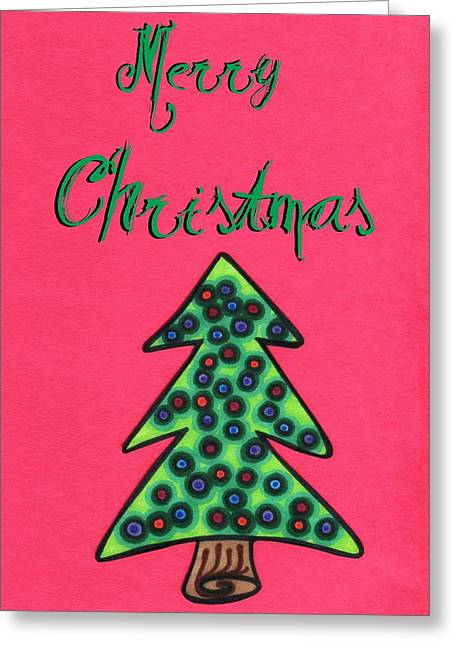Unique Christmas Cards Greeting Cards - Merry Christmas Abstract tree Greeting Card by Mandy Shupp