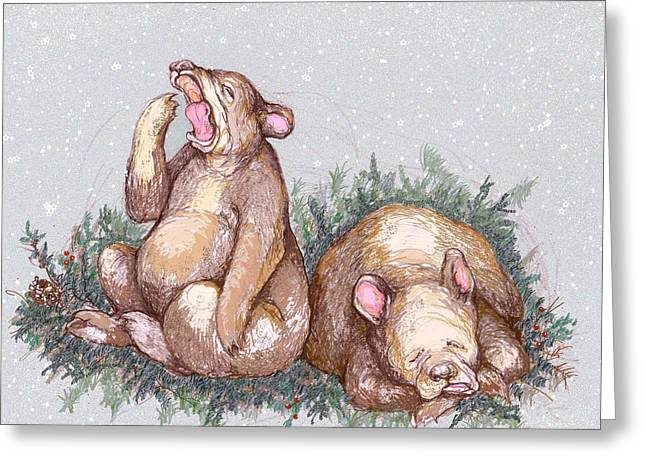 Bear Cartoon Greeting Cards - Merry Christmas and Goodnight Greeting Card by Peggy Wilson