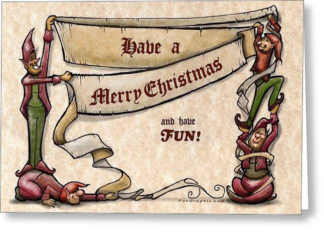 Christmas Greeting Cards - Merry Christmas Elves Greeting Card by Kevin Middleton