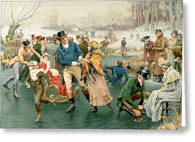 Skaters Greeting Cards - Merry Christmas Greeting Card by Frank Dadd