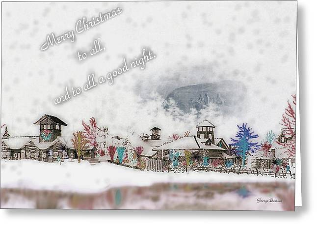 Merry Christmas - Stone Mountain Snowfall Art 4x6  Greeting Card by George Bostian