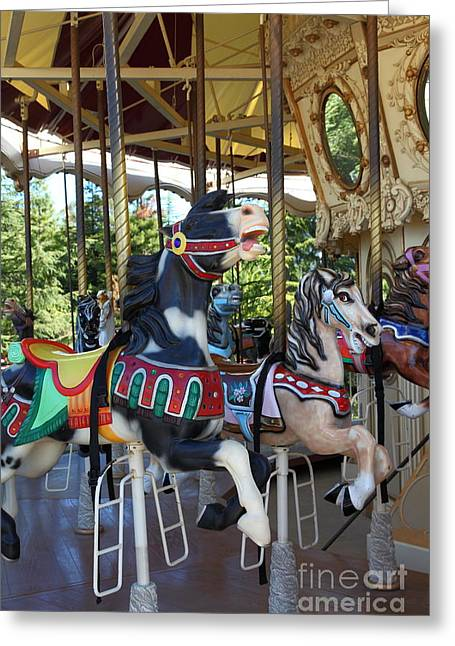 Country Fair Greeting Cards - Merry Go Around - 5D19207 Greeting Card by Wingsdomain Art and Photography