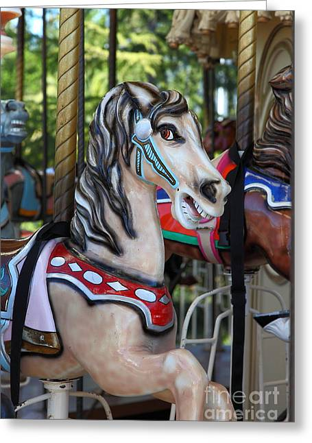 Country Fair Greeting Cards - Merry Go Around - 5D19211 Greeting Card by Wingsdomain Art and Photography