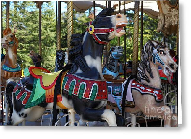Country Fair Greeting Cards - Merry Go Around - 5D19212 Greeting Card by Wingsdomain Art and Photography
