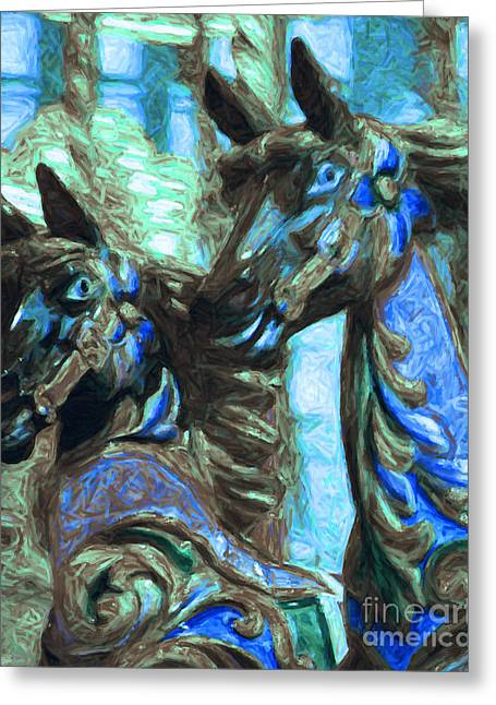 Country Fair Greeting Cards - Merry Go Around Horses - Painterly - Blue Greeting Card by Wingsdomain Art and Photography