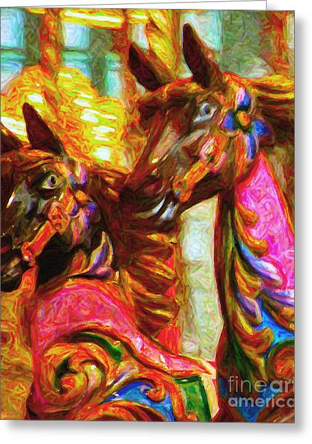 Country Fair Greeting Cards - Merry Go Around Horses - Painterly Greeting Card by Wingsdomain Art and Photography