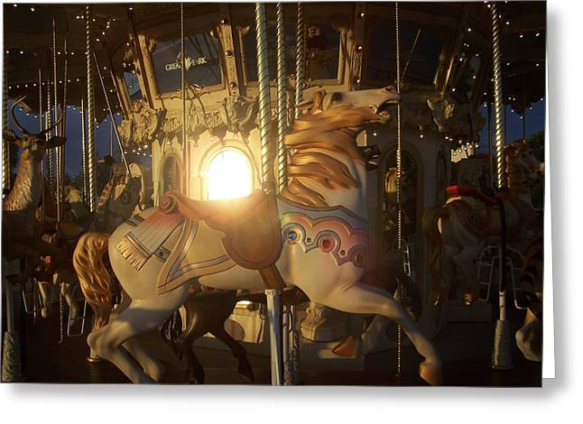 Merry Go Round At Sunset Greeting Card by Steve Huang