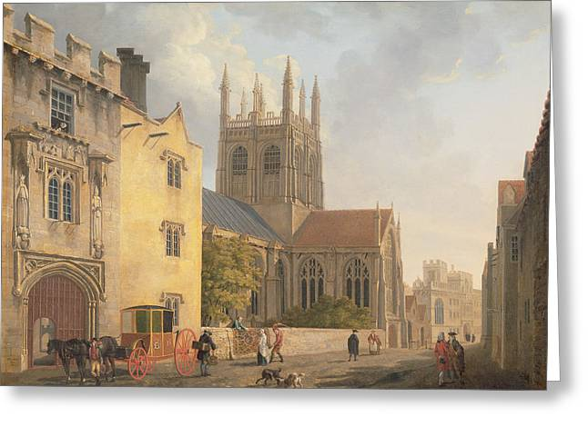 Town Greeting Cards - Merton College - Oxford Greeting Card by Michael Rooker