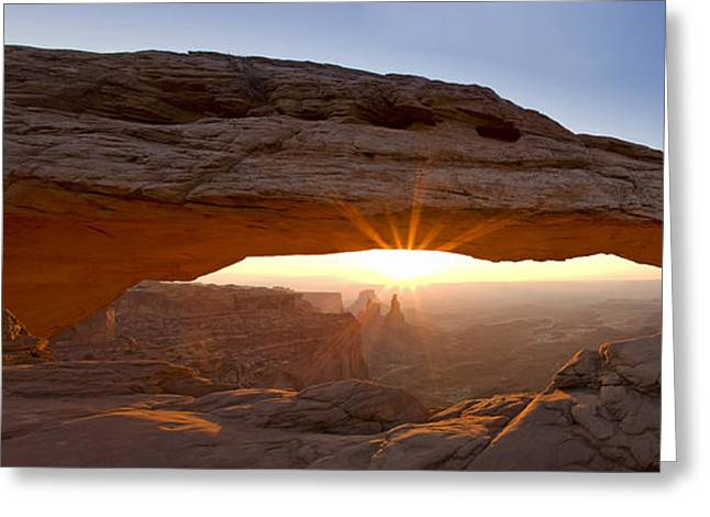 Park Scene Greeting Cards - Mesa Arch Panorama Greeting Card by Andrew Soundarajan