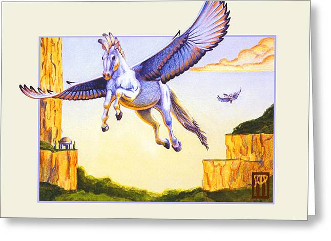 Gathering Mixed Media Greeting Cards - Mesa Pegasus Greeting Card by Melissa A Benson