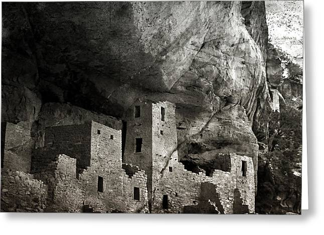 Dwelling Digital Art Greeting Cards - Mesa Verde - Monochrome Greeting Card by Ellen Heaverlo