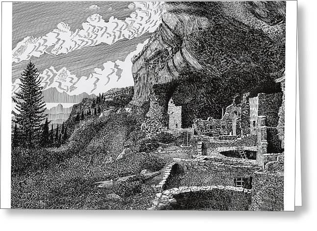 Pen And Ink Framed Prints Greeting Cards - Mesa Verde Cliff Dwellings Greeting Card by Jack Pumphrey