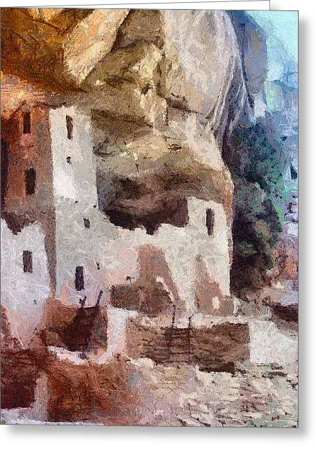 Dwelling Digital Art Greeting Cards - Mesa Verde Greeting Card by Jeff Kolker