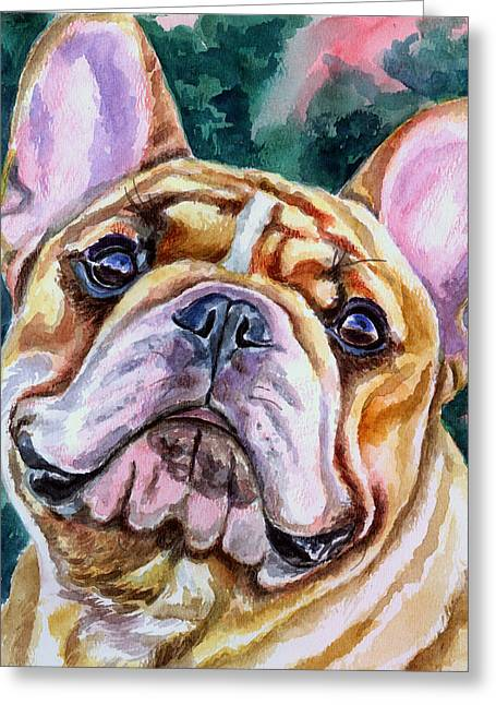 Bulldog Pet Portraits Greeting Cards - Mesmerizing Eyes Greeting Card by Lyn Cook