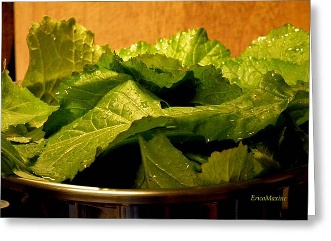 Collard Greens Greeting Cards - Mess Of Greens Greeting Card by EricaMaxine  Price