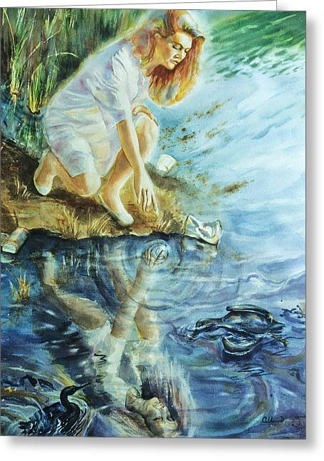 Catherine White Paintings Greeting Cards - Message in the Water Greeting Card by Catherine Foster