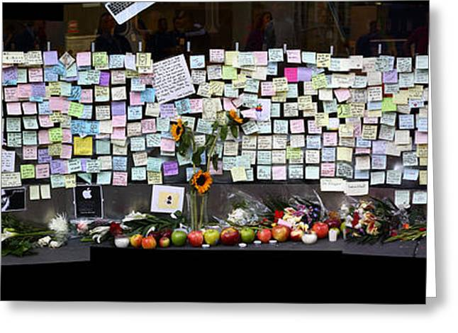 Death Of Steve Jobs Greeting Cards - Messages To Steve Jobs . RIP . San Francisco Apple Store Memorial . Left Side . October 5 2011 Greeting Card by Wingsdomain Art and Photography