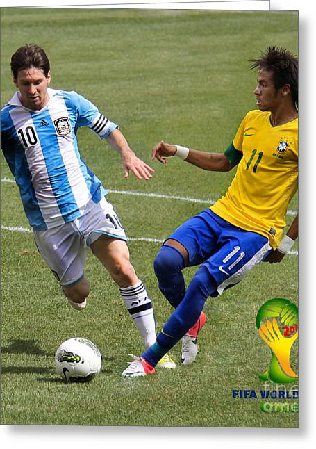 Clash Of Worlds Greeting Cards - Messi and Neymar Clash of the Titans World Cup 2014 Greeting Card by Lee Dos Santos