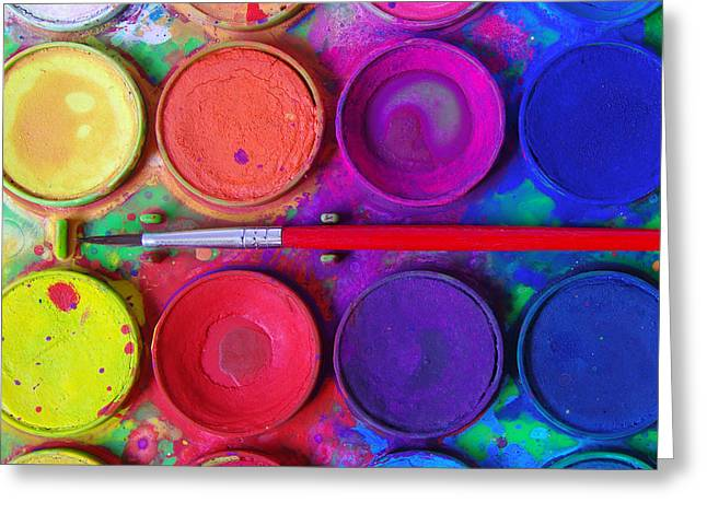 Childhood Art Greeting Cards - Messy Paints Greeting Card by Carlos Caetano