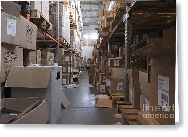 Cardboard Greeting Cards - Messy Warehouse Aisle Greeting Card by Magomed Magomedagaev