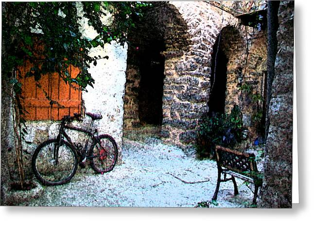 Chios Greeting Cards - Mesta-4 Greeting Card by Rezzan Erguvan-Onal