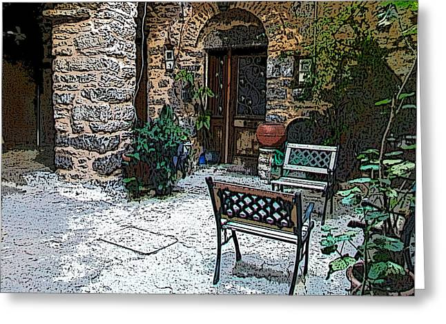 Chios Greeting Cards - Mesta-5 Greeting Card by Rezzan Erguvan-Onal