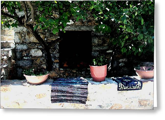 Chios Greeting Cards - Mesta-7 Greeting Card by Rezzan Erguvan-Onal