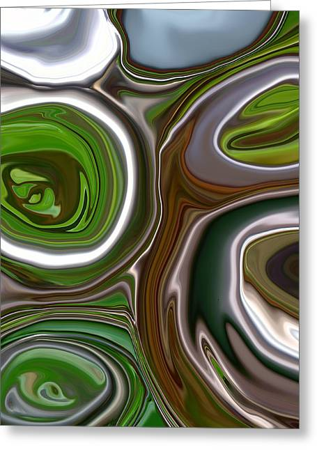 Morphed Greeting Cards - Metal Abstract Greeting Card by Linnea Tober