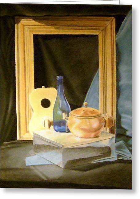 Shines Pastels Greeting Cards - Metal Box With Other Objects Greeting Card by Howard Bosler