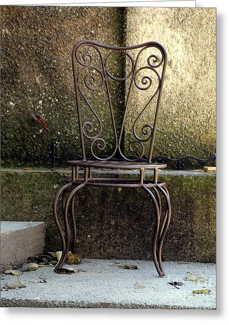 Lainie Wrightson Greeting Cards - Metal Chair Greeting Card by Lainie Wrightson