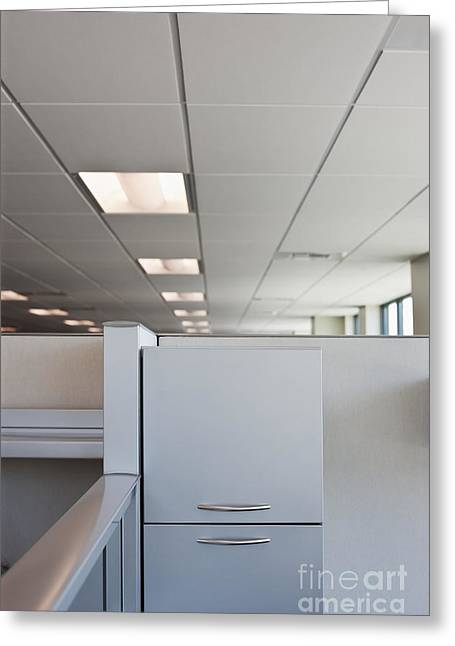 Office Space Photographs Greeting Cards - Metal Drawers and Shelf Greeting Card by Jetta Productions, Inc