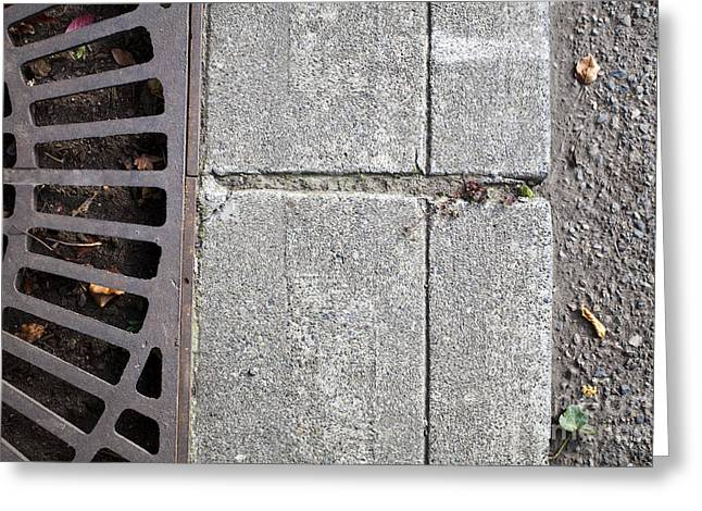 Metal Grate On Sidewalk Greeting Card by Paul Edmondson