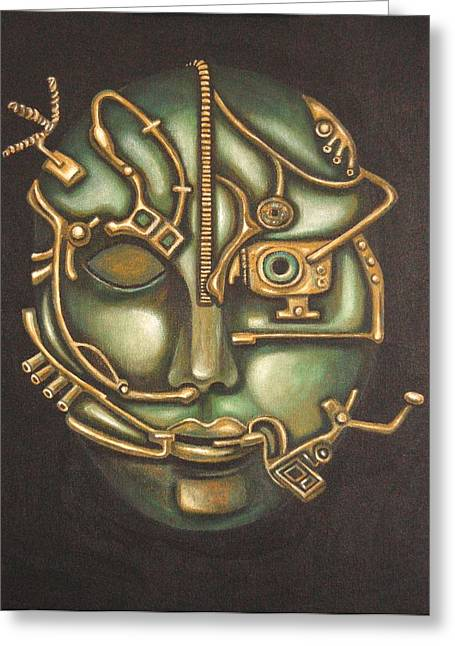 Scifi Paintings Greeting Cards - Metal Head Greeting Card by Leah Saulnier The Painting Maniac