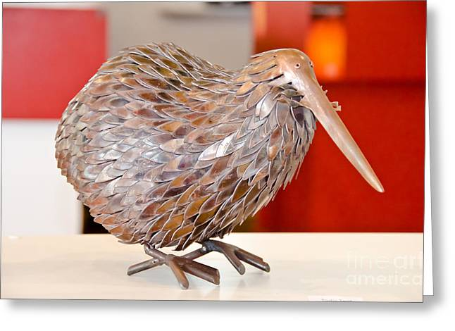 Kiwi Sculptures Greeting Cards - Metal Kiwi Bird  Greeting Card by Yurix Sardinelly