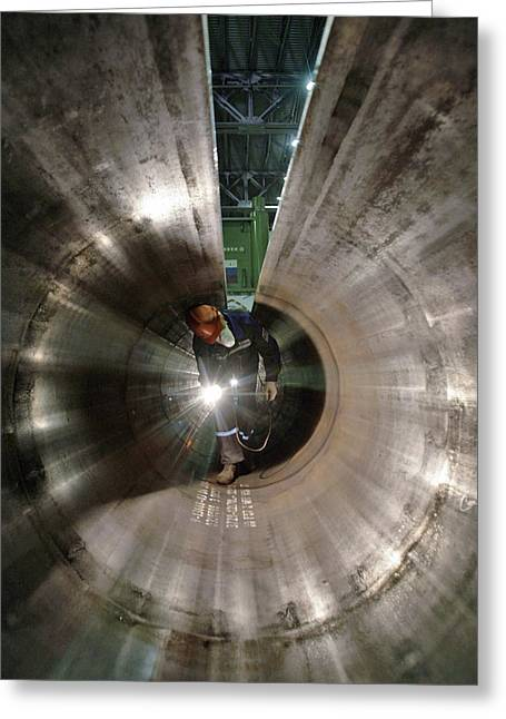 1420 Greeting Cards - Metal Pipe Manufacturing Work Greeting Card by Ria Novosti