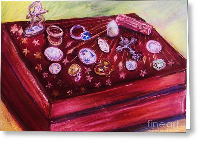 Old Relics Pastels Greeting Cards - Metal Treasures Greeting Card by Emily Michaud
