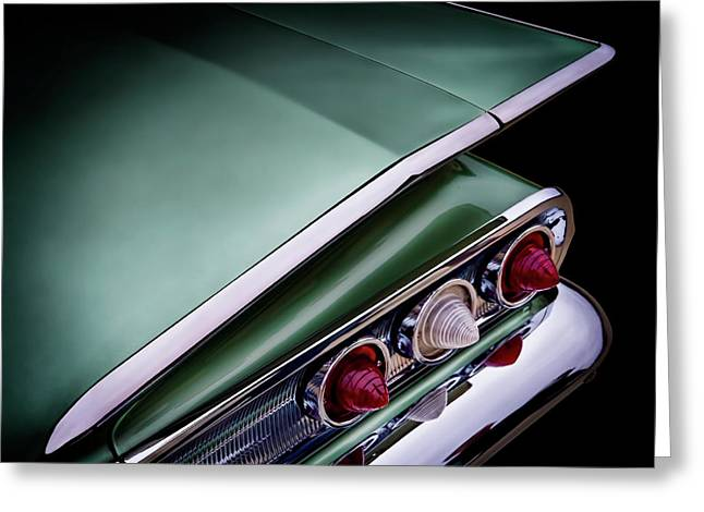 Lowrider Greeting Cards - Metalic Green Impala Wing Vingage 1960 Greeting Card by Douglas Pittman
