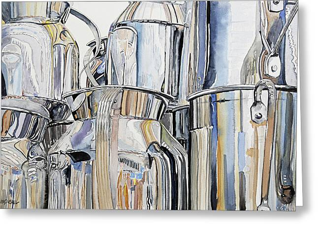 Reflection In Pitcher Greeting Cards - Metalica Greeting Card by Patrick DuMouchel