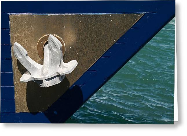 Anchor Underwater Greeting Cards - Metallic anchor Greeting Card by Odon Czintos
