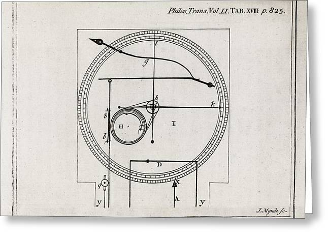 Thermostat Greeting Cards - Metalline Thermometer, 18th Century Greeting Card by Middle Temple Library