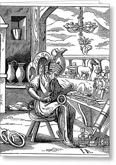 Metalworker Greeting Cards - METALWORKER, 16th CENTURY Greeting Card by Granger