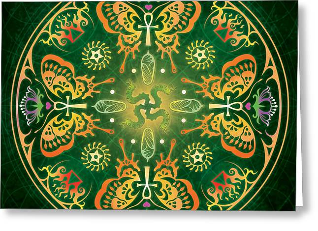 Caterpillar Greeting Cards - Metamorphosis Mandala Greeting Card by Cristina McAllister