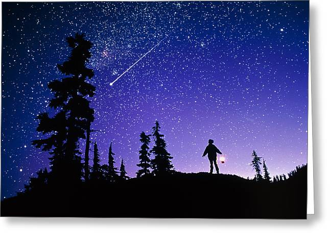 Meteor Greeting Card by David Nunuk