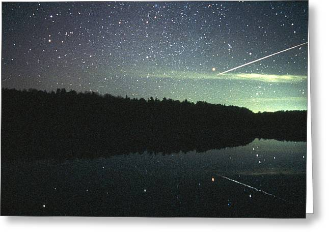 Space Dust Greeting Cards - Meteor Over Lake Greeting Card by Pekka Parviainen