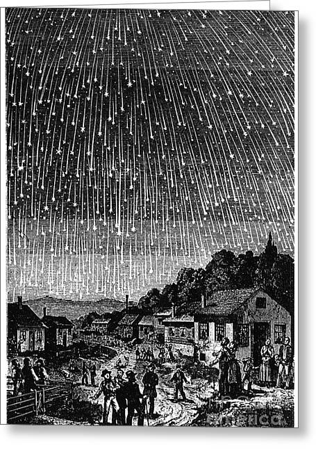 1833 Greeting Cards - Meteor Shower, 1833 Greeting Card by Granger
