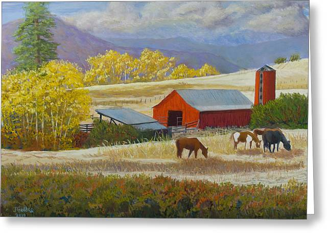 Methow Valley Greeting Cards - Methow Ranch Greeting Card by James Geddes